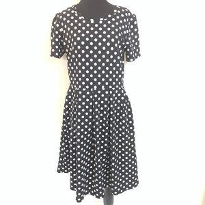 LULAROE BLACK WHITE POLKA DOT AMELIA DRESS SIZE XL